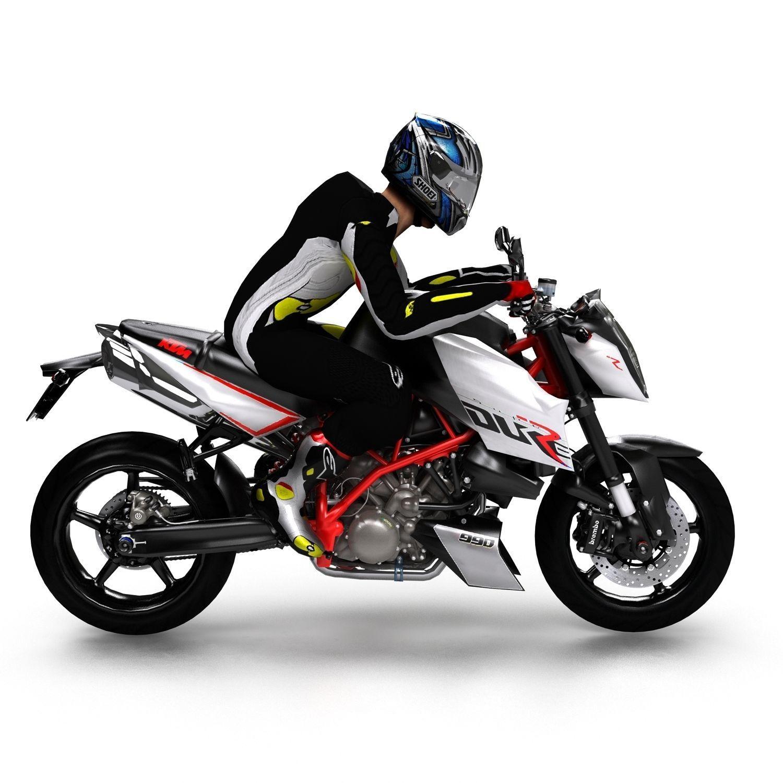 ktm 990 super duke r with rider 3D asset   CGTrader