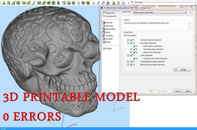 celtic skull 3d model obj mtl stl amf 1