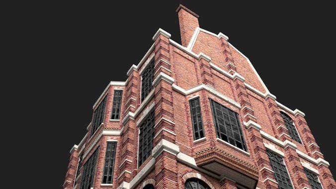 victorian brick building kit 3d model low-poly obj mtl 3ds fbx stl dae ply 1