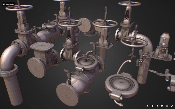 hi poly subdivision backflow pipe constructor 3d model max obj mtl fbx ma mb 1