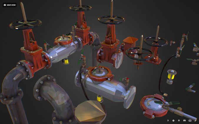 low poly art backflow water pipe constructor 3d model max obj mtl fbx ma mb tga 1
