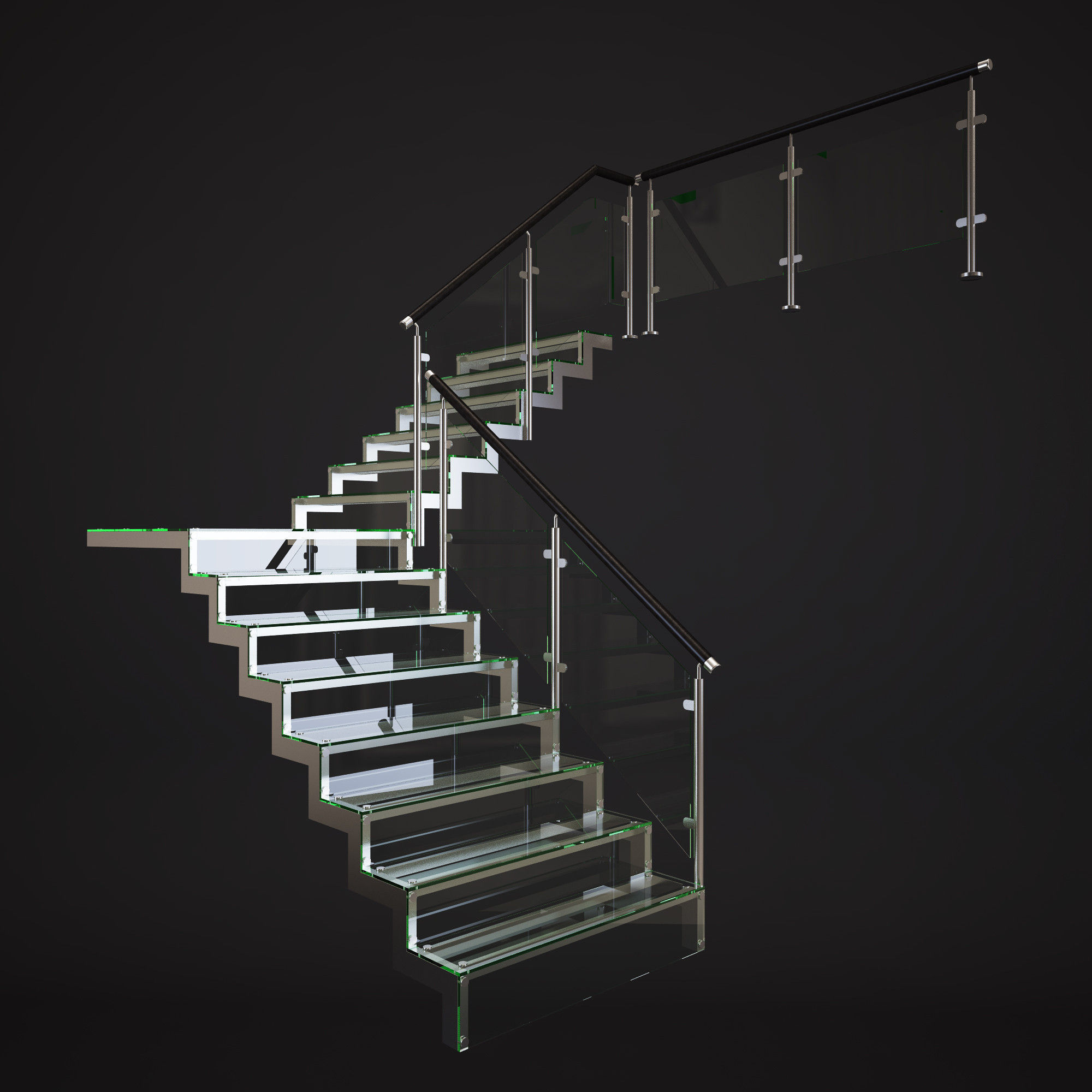 3d Model Glass Stair Cgtrader