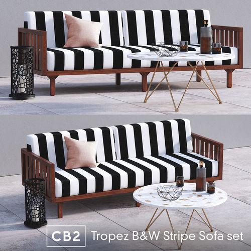3d Sun Cb2 Tropez Black And White Stripe Sofa Set