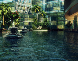 3D Senior office building square fountain ancient