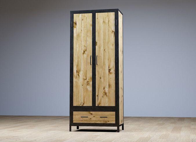 Rustic Wardrobe Closet 3d Model Obj Mtl Fbx Ma Mb 1 ...