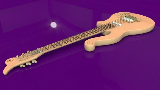 Prince Cloud Guitar 3D Model OBJ 3DS C4D DXF | CGTrader.com