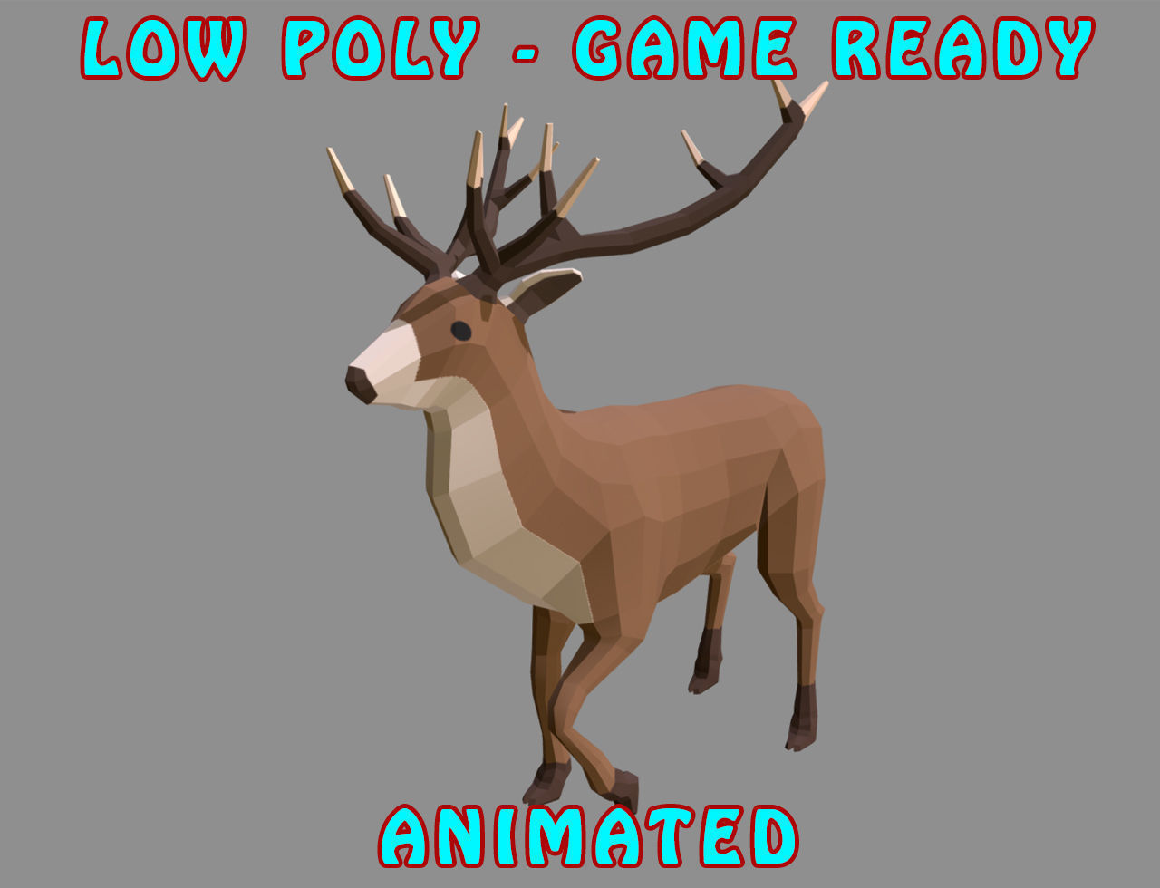 Low poly Stag Animated - Game Ready