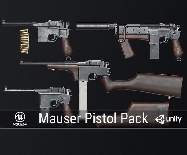 pbr mauser pistol pack 3d model low-poly obj mtl fbx ma mb dae 1