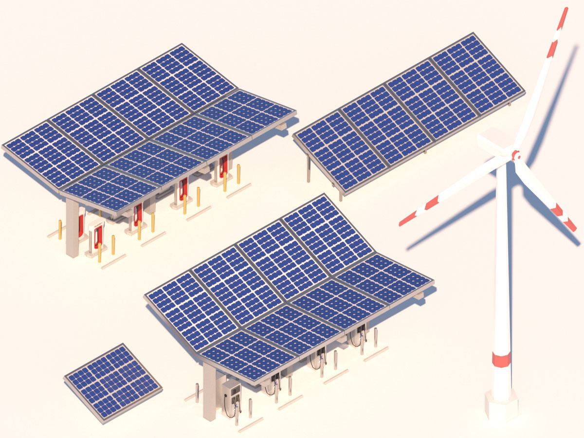 Cartoon Solar Panel Wind Turbine Electric Vehicle Charger
