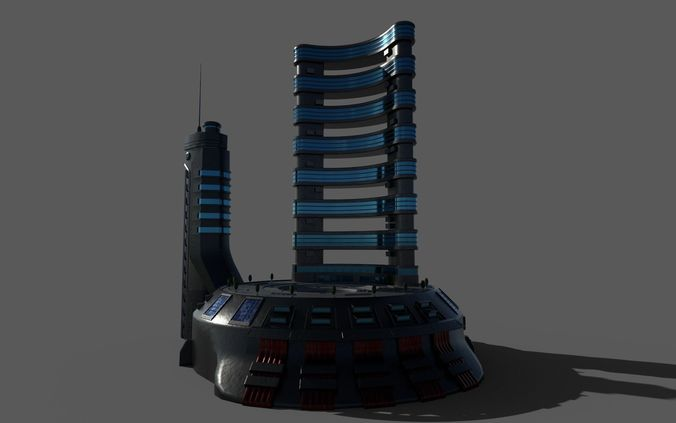 sci-fi hotel 3d model max obj mtl 3ds fbx dae 1