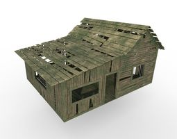 Wood house 3D asset game-ready