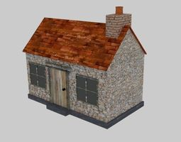 Small stone Cottage 3D model low-poly