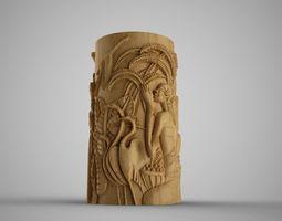 Hieroglyphic relief Cylinder Box 3D print model