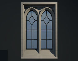 3D WINDOW arch gothic double
