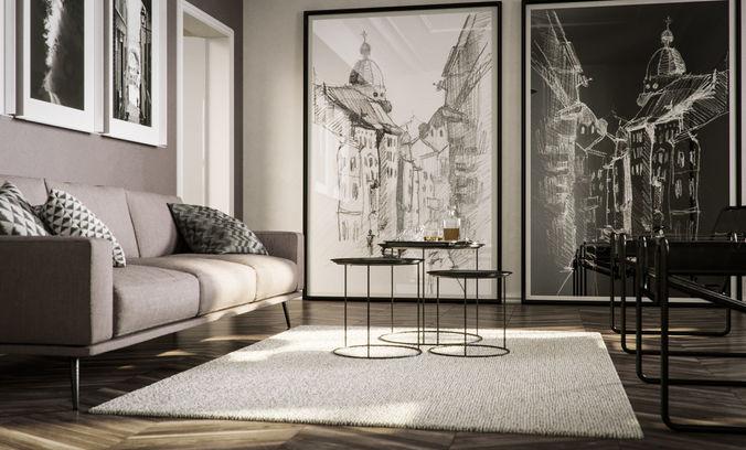 White living ready to render in cinema 4d and 3d model 1 - Interior design models for living room ...
