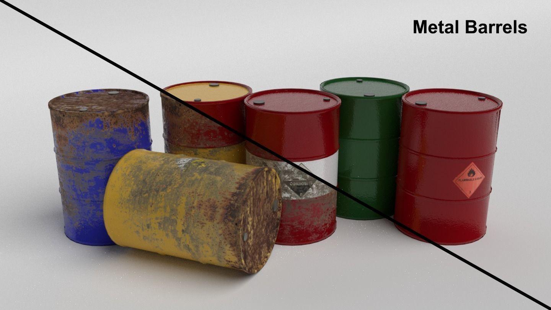 Metal Barrels - Low Poly PBR