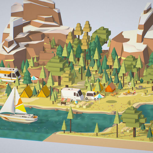 isometric style camping level constructor 3d model max obj mtl fbx 1