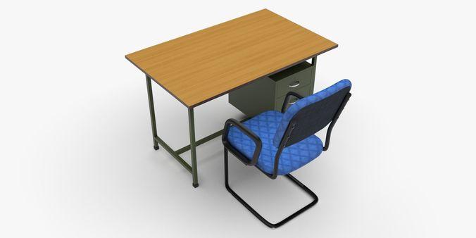 Office Table Chair Set Model Obj S Fbx Stl Blend Mtl 5
