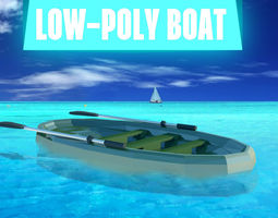 LOW-POLY BOAT 3D asset game-ready