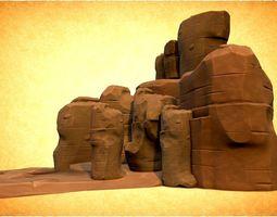 stylized Rocks 3D asset game-ready