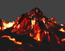 lava 3D model game-ready volcano