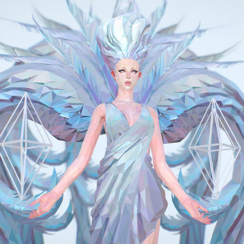 polygon art white angel a women 3d model 3d model max obj mtl fbx ma mb 1