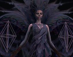 Polygon Art Dark Angel B Witch 3d Model low-poly