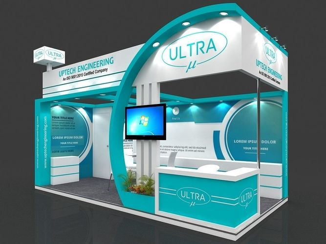 exhibition stall 3d model 6x3 mtr 2 sides open engineering stand 3d model max 1