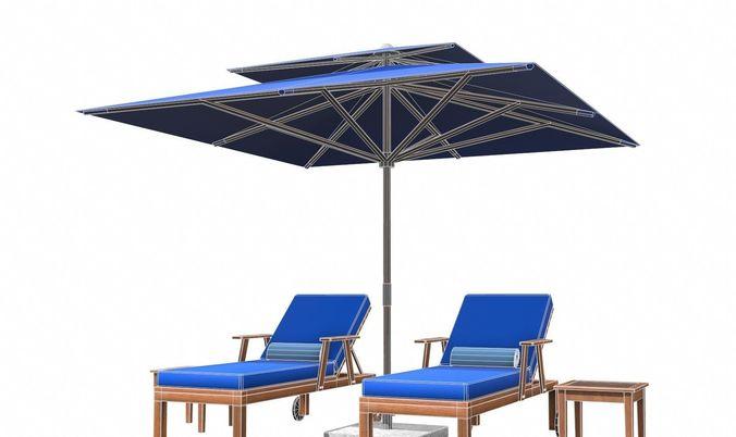Lounge Chair And Umbrella 3d Model Max Obj 3ds Fbx C4d Tbscene 20