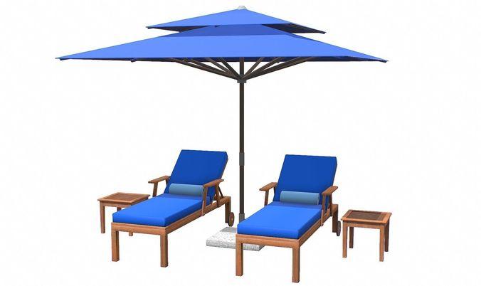 Lounge Chair And Umbrella 3d Model Low Poly Max Obj 3ds Fbx C4d Tbscene ...