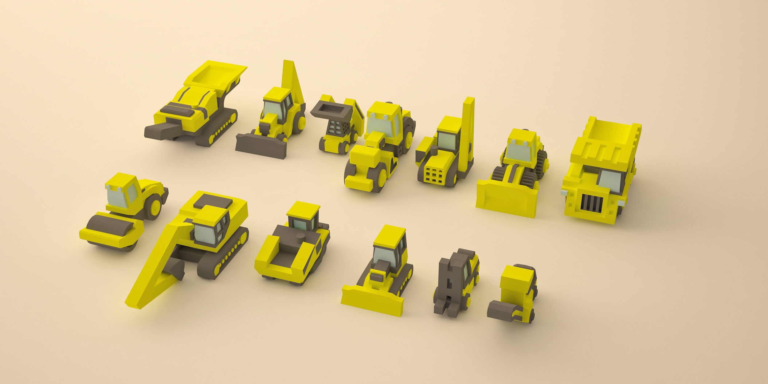 Set of construction machinery low-poly