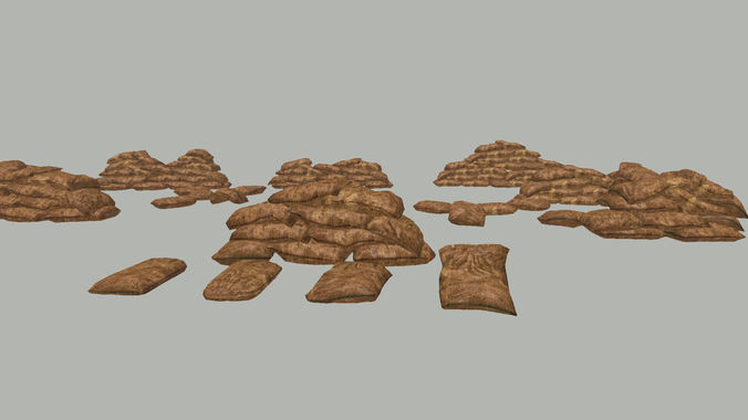 lowpoly sandbag kit 3d model low-poly max fbx 1