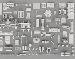 3D asset game-ready SFDEMIR Kitbash Collection Parts 0003