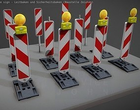 Construction Site Traffic Signs - Pack 3D model