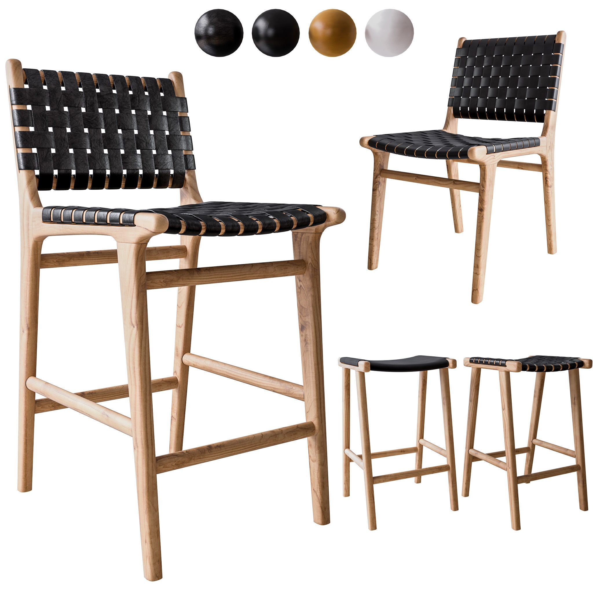 Peachy Flat And Leather Strapping Dining Chair And Stools 3D Model Gmtry Best Dining Table And Chair Ideas Images Gmtryco