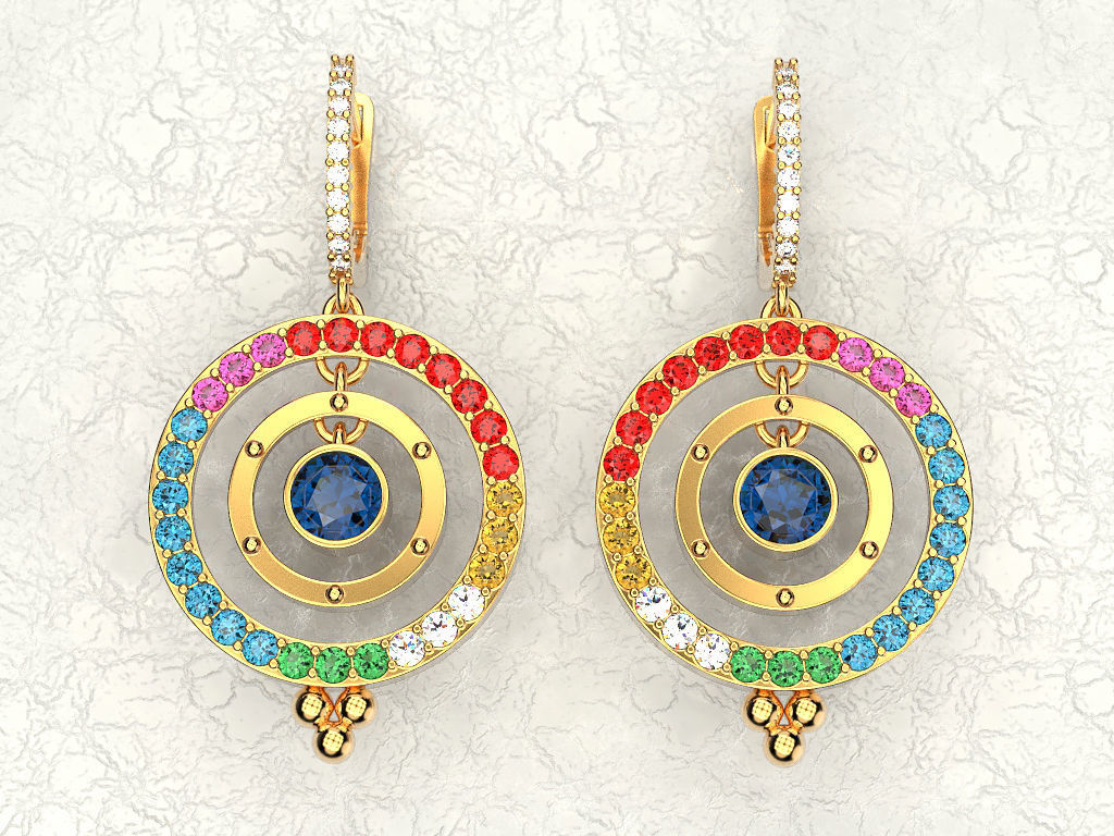 the beads with large crystal multi earrings colored ball hb