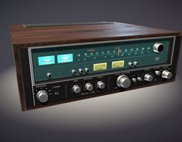 old stereo receiver PBR 3d model