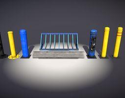 PBR bollards concrete stopper bike rack asset pack 3d model