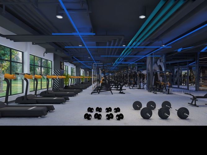 training Wide Modern Gymnasium 3D model animated | CGTrader