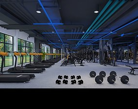 training Wide Modern Gymnasium 3D model animated