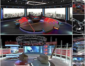 Virtual TV Studio Chat Sets Collection 11 3D