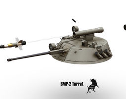 bmp-2 turret with spandrel missile 3d model