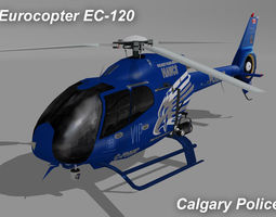 eurocopter ec-120 c-fhwc calgary police livery 3d model low-poly rigged max