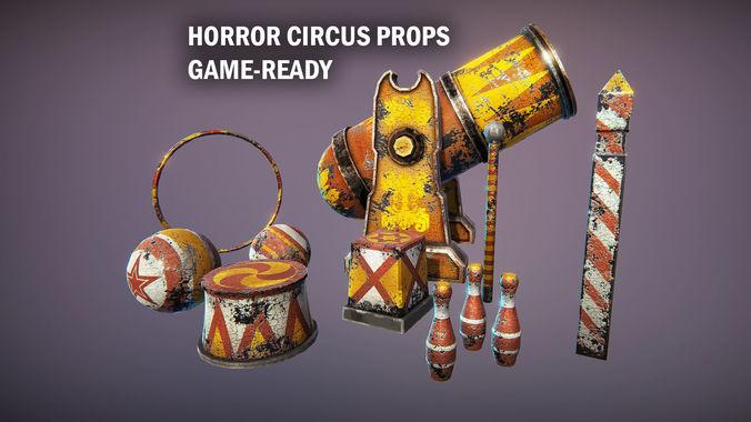 horror circus props 3d model fbx unitypackage prefab mat uasset 1