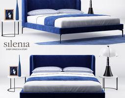 3D model Neocon bed and Zero marble table - Silenia