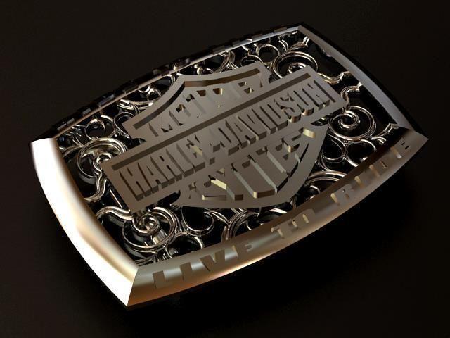 harley davidson silver belt buckle 3d model obj mtl stl 1