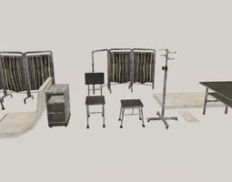 Quarantine set Lowpoly 3D asset
