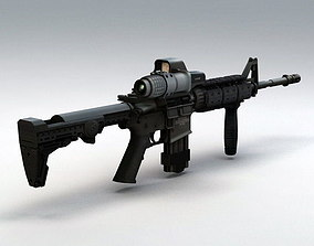 animated High detailed 3d model of M4 carbine assault 1