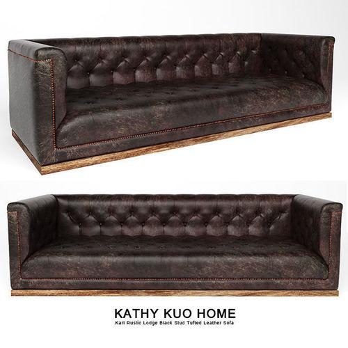 Karl Rustic Lodge Black Stud Tufted Leather Sofa 3D model MAX OBJ MTL