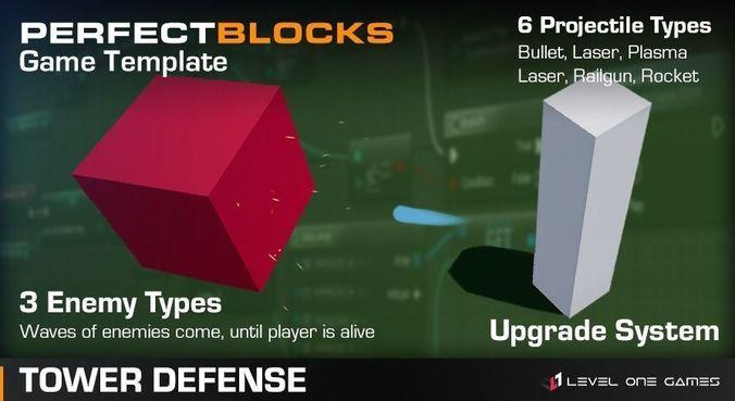 perfect blocks - idle tower defense 3d model low-poly obj mtl fbx tga uasset 1